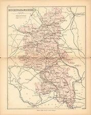 1877 ANTIQUE COUNTY MAP- BUCKINGHAMSHIRE,AYLESBURY,BLETCHLEY,COLNBROOK,WINSLOW