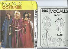 M 3663 sewing pattern MEDIEVAL DRESS Gown CAPE Cloak COSTUME sew 6,8,10,12 UNCUT
