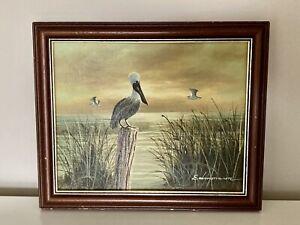 Framed Signed (Edmondson) Oil Painting Stork Sunset Water Lake Sea Wildlife
