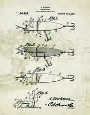 "Fishing Lure US Patent Poster Art  Antique Reels Fly Rods Flies 11""x14"" PAT54"