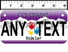 CUSTOM PERSONALIZED ALUM 2 HOLE BICYCLE STATE LICENSE PLATE-COLORADO KIDS FIRST
