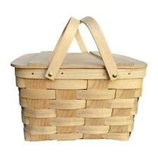 "Vintage Woven Ash Picnic Basket With Tray 4 ¼"" x 9 ⅞"" x 9 ⅞"""