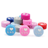 I LOVE MOM DAD Silicone Beads DIY Baby Teething Chewable Jewelry Sensory Toys