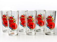 6 Tall Drinking Glasses with Poppy Floral Art 8 fl oz Made in Russia Juice Glass