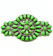 Navajo stabilize Gaspeite Cluster Sterling Silver Hair Barrette by J. Williams