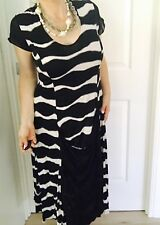 VOILE WOMENS DRESS TAILORED STRETCHY Black White  Striped MADE IN AU SZ 12