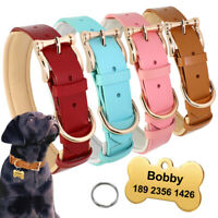 Fashion Soft Padded Leather Pet Dog Collar and Personalised ID Name Tag Pink Red
