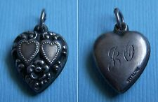 "Vintage hearts and flower puffy heart ""JO"" sterling charm"