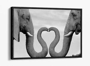 ELEPHANT 8 -DEEP FLOATER/FLOAT EFFECT FRAMED CANVAS WALL ART PRINT-HEART