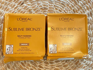 2 Boxes L'Oreal Paris Skincare Sublime Bronze Sunless Tanning 12 Towelettes Med.