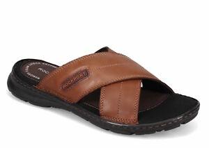 Mens Rockport Darwyn Cross Band Slide Sandal - Brown, Size 9 M [CH1925]