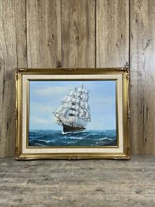 Rococo Framed Ambrose Oil On Canvas Painting Of Clipper Ship At Sea.