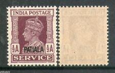India Convention - PATIALA State KGVI ½A SERVICE SG O73 / Sc O65 MNH