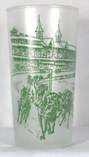 1950 Kentucky Derby Churchill Downs Green Print Frosted Glass