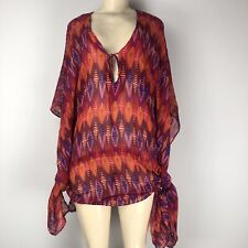 5eb180cfb29cc Hermanny by Vix Red Blue Orange Pink Tunic Swim Coverup Size S Pre-Owned