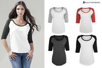 Build Your Brand Women's 3/4 Sleeve Contrast Raglan Tee BY022 - Cotton T-Shirt