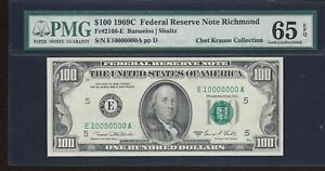"""1969C $100.00 FRN E10000000A P.M.G #65EPQ  """"ONE OF ONE"""""""
