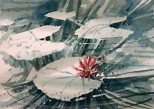 """""""Water Garden""""  original  watercolor by American artist Micheal Jones #1812"""
