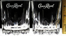 Crown Royal Crystal Cut Style Glasses Lot of 2 Tumbler Whiskey Lowball Sm-Font