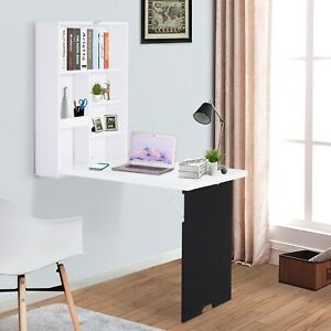 HOMCOM Folding Wall-Mounted Drop-Leaf Table w/Chalkboard Shelf Multi-Function