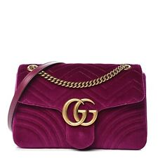 "Gucci ""GG"" Logo Classic Marmont Flap Crossbodybag Matelasse Velvet Purple Medium"