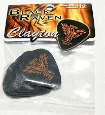 CLAYTON BLACK RAVEN .80mm Standard Guitar Pick Lot of 12 Picks