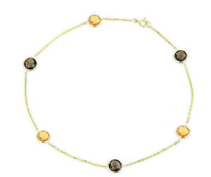 14K Yellow Gold Anklet Bracelet With Citrine And Smoky Topaz Gemstones 9 Inches