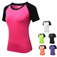 Women's Sports T Shirts Gym Training Yoga Cool Dry Tops Breathable Tight fit