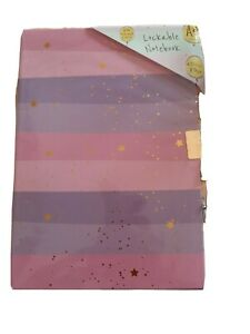 Secret Diary Lockable A5 notebook journal purple pink and gold stars design new