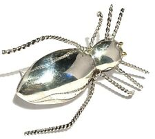 VINTAGE LARGE STERLING SILVER ARTISAN INSECT FIGURE SCULPTURE BROOCH PIN