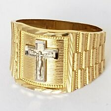 Mans solid 14k yellow Gold Jesus crucifix Cross Ring S 8.5 9 10 11