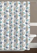 Royal Palm Ocean Sea Life Fish Fabric Shower Curtain: Turquoise, Teal, Blue,Tan,