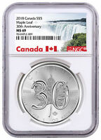 2018 Canada 1 oz Silver Maple Leaf 30th Anniv $5 Coin NGC MS69 SKU52889
