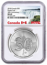 2018 Canada 1 oz Silver Maple Leaf - 30th Anniversary $5 Coin NGC MS69 SKU52889