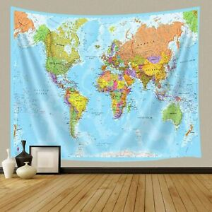 World Map Tapestries Wall Art Hanging for Bedroom Living Room Dorm 36x24