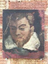 Antique peinture du Diable en enfer Huile sur carton naïf primitive Folk Art Rare