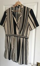 ASOS black cream monochrome striped playsuit bnwt party holiday summer 14