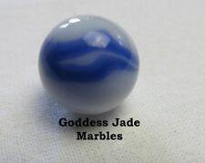 "Vintage Alley Agate White Base Blue Swirl Marble 5/8"" Goddess Jade Marbles"