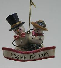 Pam Schifferl Enchanted Winter's Eve Snowman Kiss Me its X'Mas Ornament New