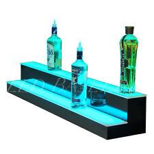 """56"""" Lighted Glass Shelving display for Liquor Bottles Bar or Home 2 step"""