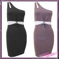 Womens Bodycon Fitted Cut Out Dress One Shoulder Ladies Black New UK M/L