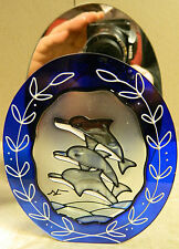 "Dolphin Votive Candle Holder Painted Glass Mirror Backed 5.75"" x 4"" x 2.25"""