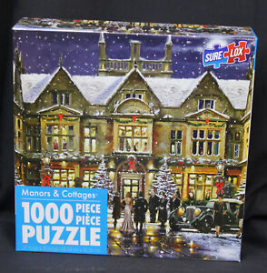 Sure Lox Jigsaw Puzzle Manors & Cottages 1000 Piece Winter  Christmas Complete