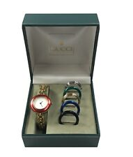 Gucci 11/12.2 Gold Plated Interchangeable Bezel Women's Watch With Box Swiss