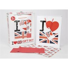 3 Piece I Heart Uk Gift Set With Gift Bag, Paper & Tissue - Bag Love Union Jack