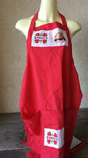 Noel Apron Red Full Bunny Rabbit Chickens Christmas 2 Large Pockets Handmade