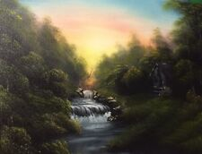 Tranquil Falls - Bob Ross style original oil painting on canvas