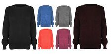 Womens Plain Long Sleeve Chunky Knitted OverSize Baggy Ladies Jumper Top Sweater