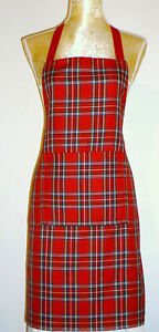 APRON IN ROYAL STEWART TARTAN WITH FRONT POCKET. 'Made in Scotland' GIFT IDEA