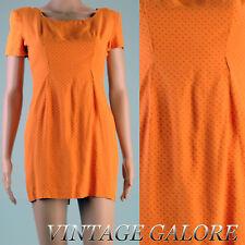 VINTAGE Bright Orange black polka dot pencil wiggle Short sleeve mini dress XS